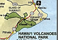 Hawaii Volcanoes Park small map with Volcano Village