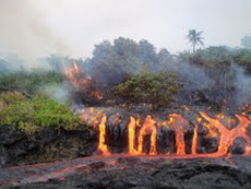 Lava flow active from Kilauea area